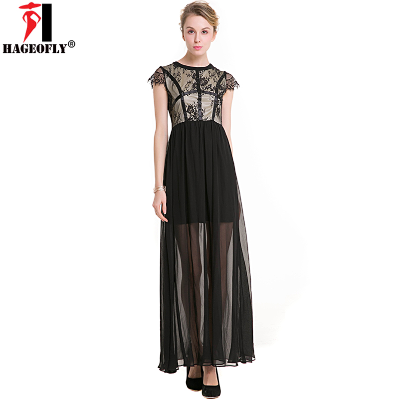 abdbf682259 HAGEOFLY Sexy Lace Patchwork Chiffon Mesh Long Maxi Dresses O neck  Sleeveless Ankle Length Black Draped Dress for lady Plus Size-in Dresses  from Women s ...