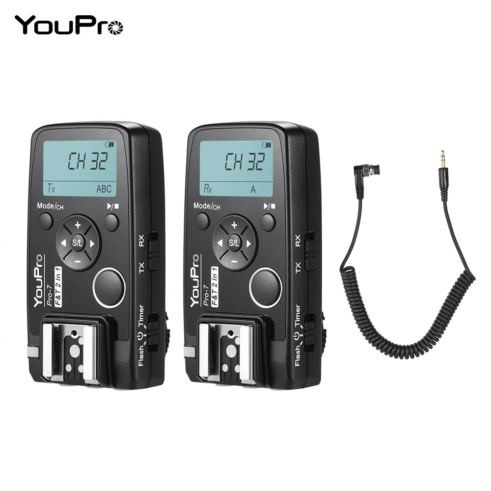 YouPro Pro 7 Wireless Shutter Timer Remote Flash Trigger w DC0 2 5mm PC Sync Shutter