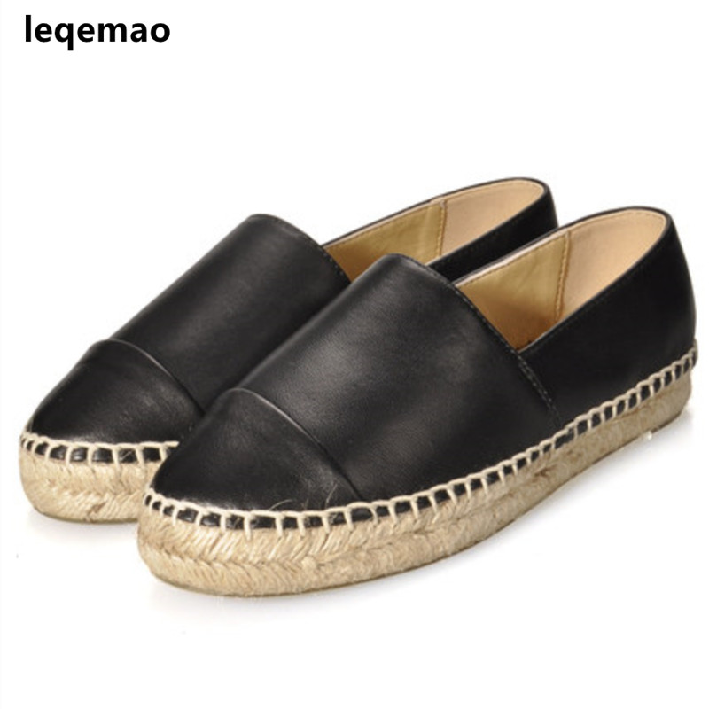 New Fashion Comfortable Seasons Women Espadrilles Shoes Genuine Leather Flats Woman Casual Loafers High Quality Big Size 34-42(China)