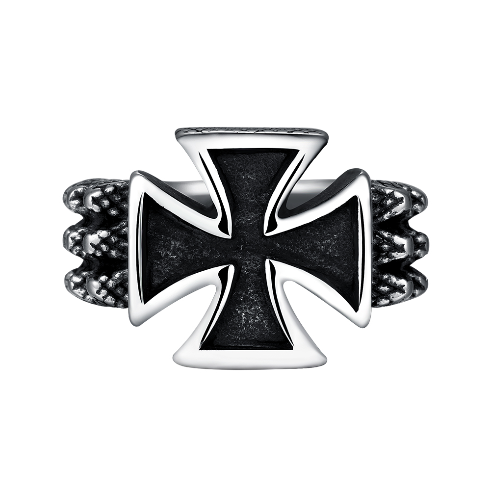 Lureme Punk Gothic Style 316l Stainless Steel Individuality Cross With Skull Ring For Men Hip Hop Jewelry 04001504