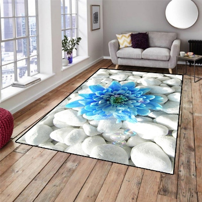 Else White Stones On Blue Big Flowers 3d Pattern Print Non Slip Microfiber Living Room Decorative Modern Washable Area Rug Mat