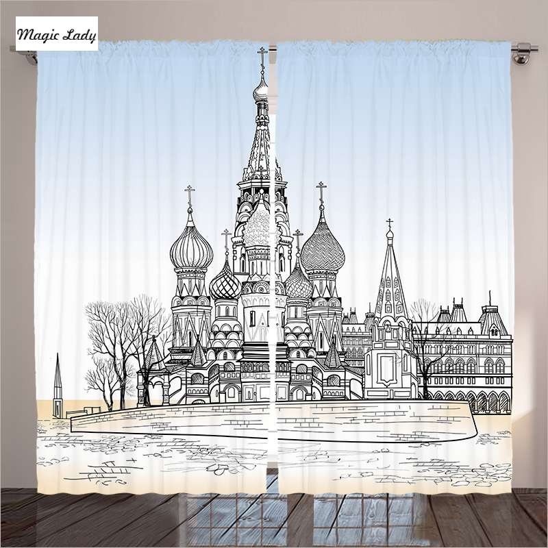 Salon Moderne Rideaux En Noir Blanc Kremlin Saint Basile ...