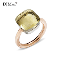 DJMACC Classic Water Droplets Candy Style Ring 16 Kinds Of Color Real Crystal Drop Rings For