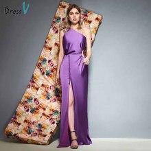 Dressv leylak bir omuz akşam elbise kat uzunluk bölünmüş ön kılıf kolsuz düğün parti resmi elbise abiye