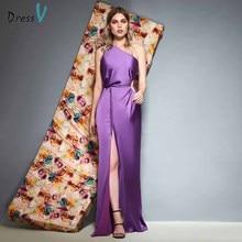 Dressv lilac one shoulder evening dress floor length split front sheath sleeveless wedding party formal dress evening dresses