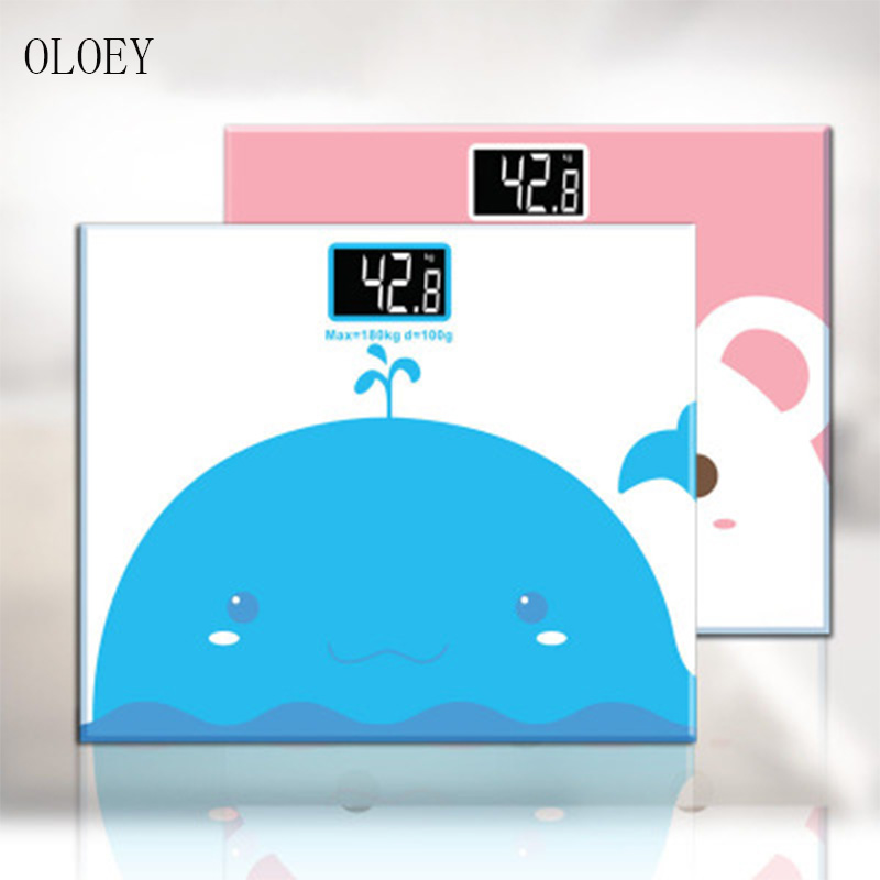 OLOEYElectronic scale tempered glass digital display weight weighing floor electronic smart balance body family bathroom 180KG