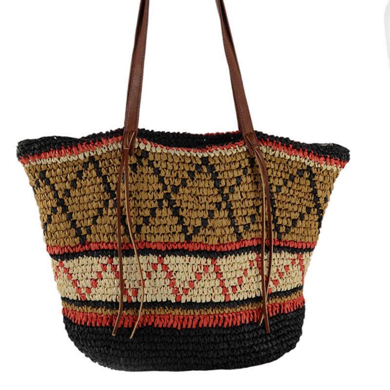 Mulheres Bolsa de Palha Boêmio Feminino Verão Praia Grande Do Vintage Tecido Bolsa Senhora Sacola de Compras Sacos de Ombro Viagem Ocasional SS3056