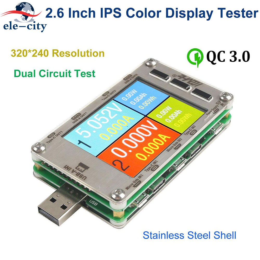 New 100MHZ T50N Dual USB Voltage Current Color Display Tester with Test Cable Power Capacity Meter