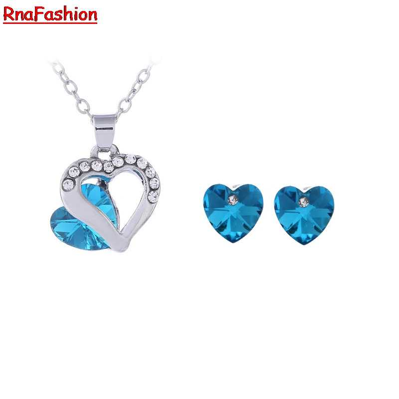 New 2014 Wholesale Crystal Jewelry Austrian crystal Heart pendants necklace earrings jewelry sets silver plated for women