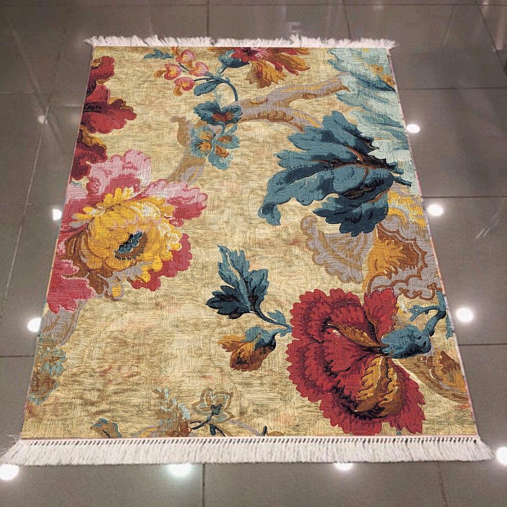 Else Pink Green Red Flowers Floral Ottoman Ethnic 3d Print Microfiber Anti Slip Back Washable Decorative Kilim Area Rug Carpet