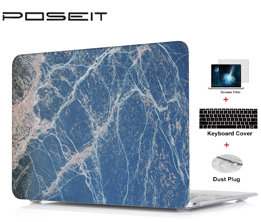 Nova Mármore prints Hard Shell Case + Keyboard Cover + Film Tela + Poeira Plugs Para Macbook Pro Retina Air Touch Bar 11 12 13 15 polegada