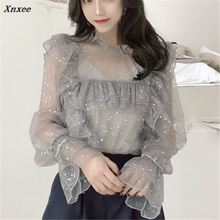 Xnxee 2018 Korean Summer Flare Sleeve Lace Women Shirts New Ruffled Polka Dot Blouse Sweet Perspective Two Piece Set Tops 67270