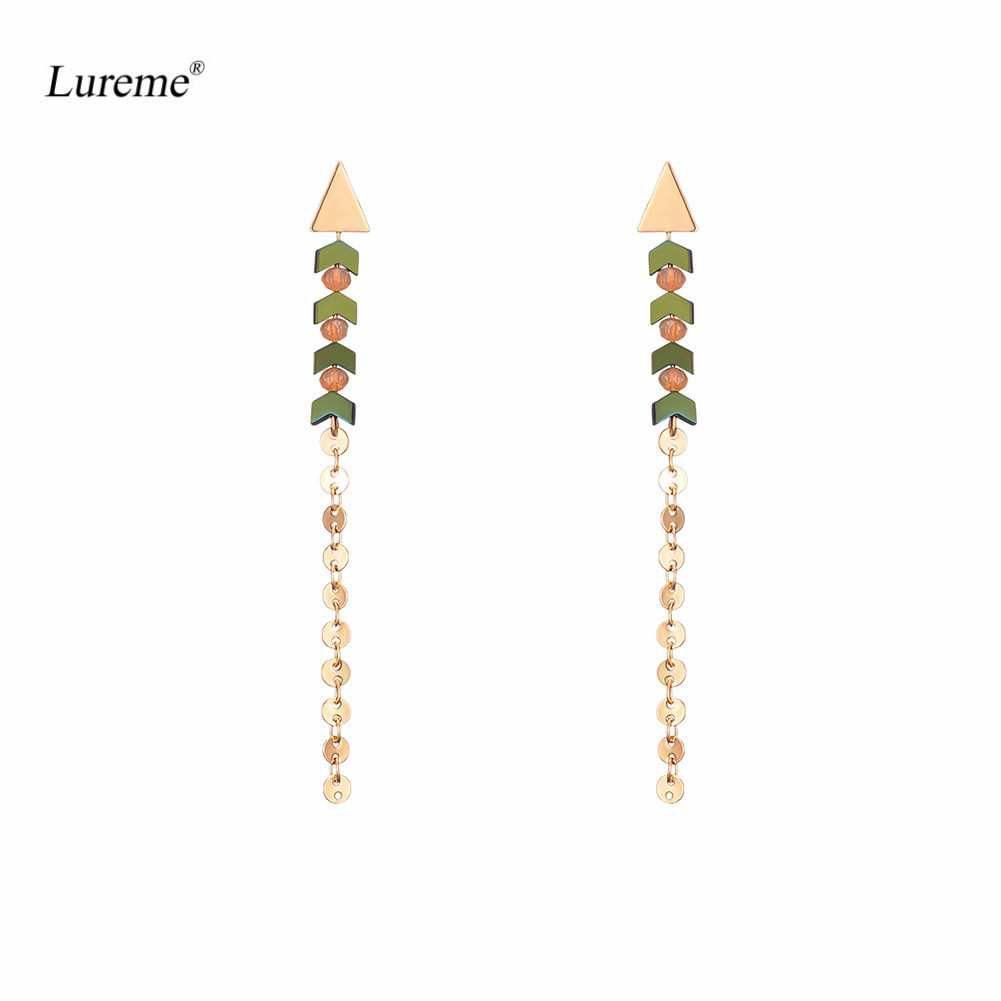 Lureme Womens Gold Color Metal Unique Arrow Design Beaded Drop Dangle Earrings Long Tassel Earring Earing Erring (er005620) ...