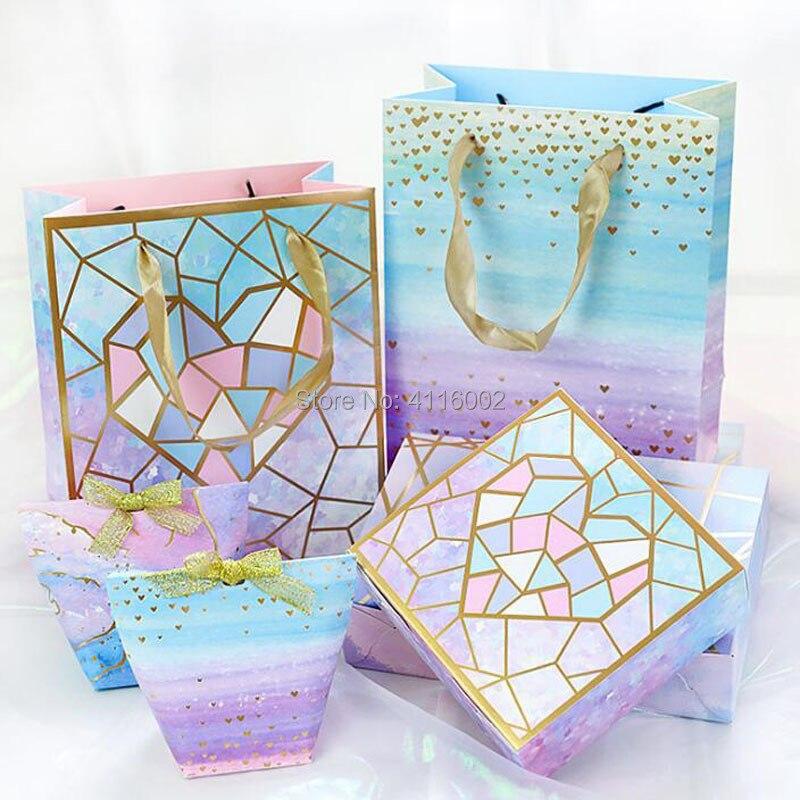 Creative bleu ciel étoilé galaxie faveurs de mariage boîtes à bonbons de mariée douche boîte de papier parti faveur cadeaux boîte