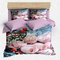 Autre 6 pièces bleu étage rose Roses rouge fleurs Floral impression 3D coton Satin Double housse de couette literie ensemble taie d'oreiller drap de lit