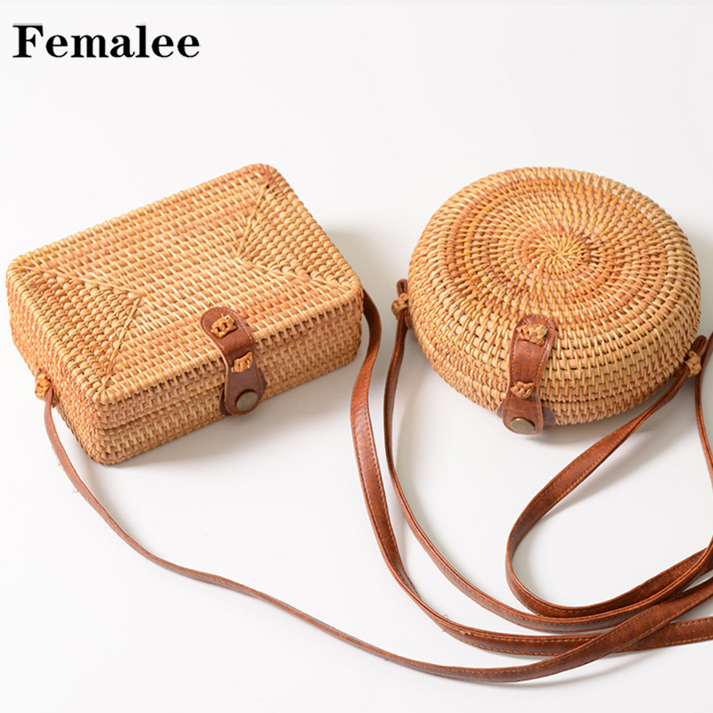 FEMALEE Handmade Rattan Woven Round Women Crossbody Bag Vintage Straw Square Box Messenger Bag Lady Summer Beach Shoulder Bags(China)