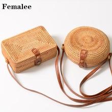 FEMALEE Handmade Rattan Woven Runde Frauen Crossbody Tasche Vintage Stroh Square Box Messenger Bag Lady Sommer Strand Umhängetaschen