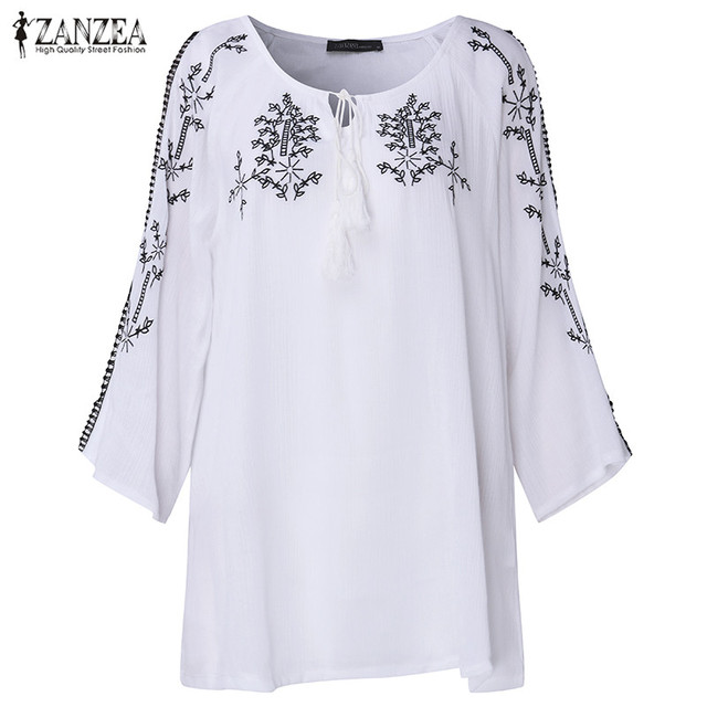 2017 ZANZEA Women Boho Embroidery Summer V Neck 3/4 Sleeve Lace-up Off Shoulder Loose Casual Blouse Shirt Tassel Tops Plus Size