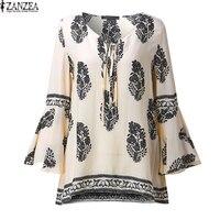 ZANZEA Womens 2017 Sexy Ladies Floral Print V Neck Shirt Boho Flared Flounce Sleeve Casual Loose