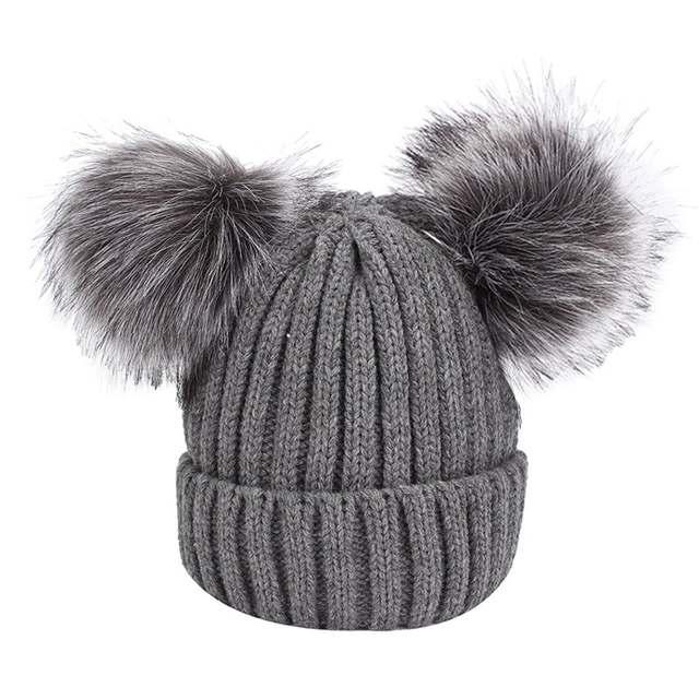 46bf1d671 Furry Hat With Double Pompom Women Winter Warm Knitted Wool Cotton Hats  Bobble Gorros Beanies Bonnet Ear Warmer Female Ski Cap