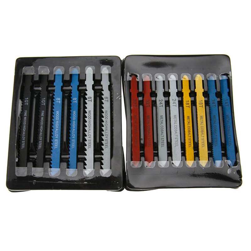 New Arrival 14pcs Assorted T-shank Jigsaw <font><b>Blade</b></font> Set <font><b>Metal</b></font> Steel <font><b>Jig</b></font> <font><b>Saw</b></font> <font><b>Blade</b></font> Set Fitting For Plastic Woodworking Tools image
