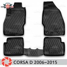 Коврики для Opel Corsa D 2006 ~ 2014 ковры Нескользящие полиуретановые грязи защиты подкладке автомобиля средства укладки волос