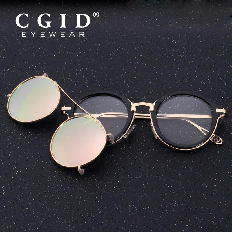 CGID 2019 Fashion Men Polarized Sunglasses Round Steampunk Removable Clip On Shades Brand Designer Sun Glass Vintage Metal E76