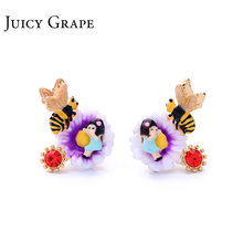 Juicy Grape new arrival enamel glaze hand painted 925 sliver unique hypoallergenic earring ear stud for women(China)