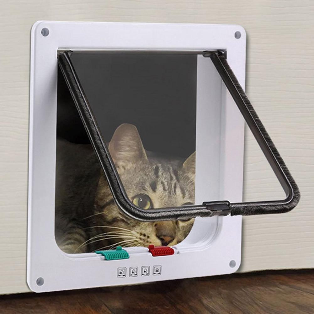 3 size 4 way pet cat puppy dog gates door lockable safe flap door pet safety products in cat - Safe pet dog doors ...