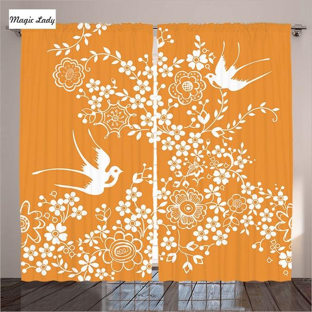€ 85.05 |Orange Rideaux Salon Chambre Oriental Floral Japonais Oiseaux  Asiatique Pastel Printemps Motif Blanc 2 Panneaux Ensemble 145*265 sm dans  ...