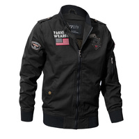 Military Style Airborne Pilot Jacket Men Tactical Flight Army Jacket Autumn US Flag Air Force Motorcycle Cotton Cargo Coat M 4XL