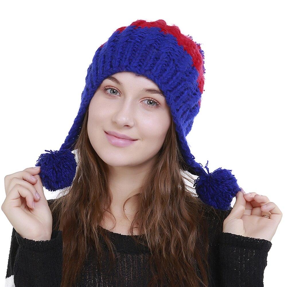 Women Fashion Color Blocking Woolen Yarn Winter Beanie with Knitting Wool Balls