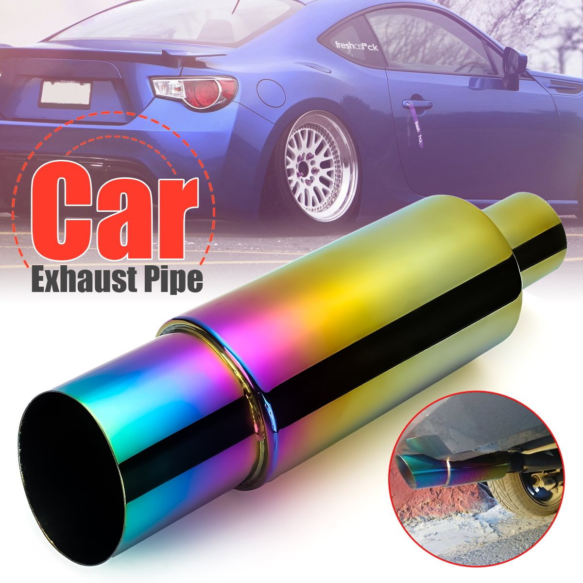 Universal Car Exhaust Pipe Racing Muffler Tip Car Exhaust Pipe Replacement 304 Stainless Steel Car Exterior Accessories stylish stainless steel car exhaust pipe muffler tip for santana toyota mazda chery more