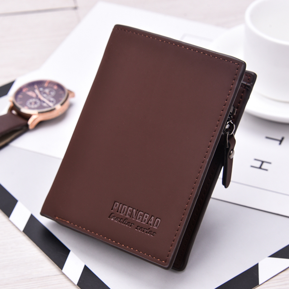 Fashion Casual Frosted Faux Leather Cash Card Photo Holder Short Wallet Men Gift ...