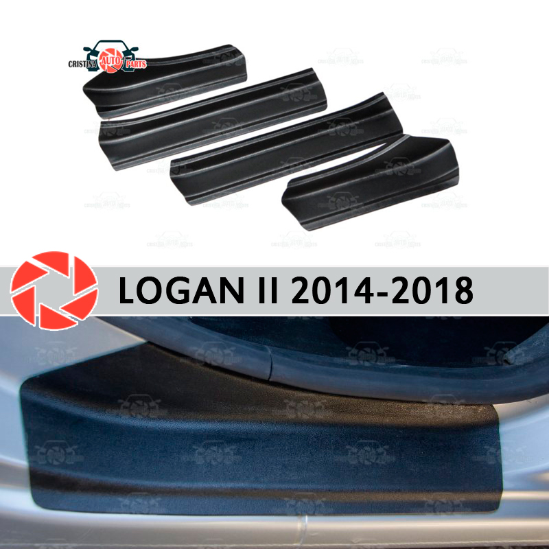Door sills for Renault Logan 2014-2018 plastic ABS step plate inner trim accessories protection scuff car styling decoration cool custom made led door sill scuff plate guard protector trim for bmw m3