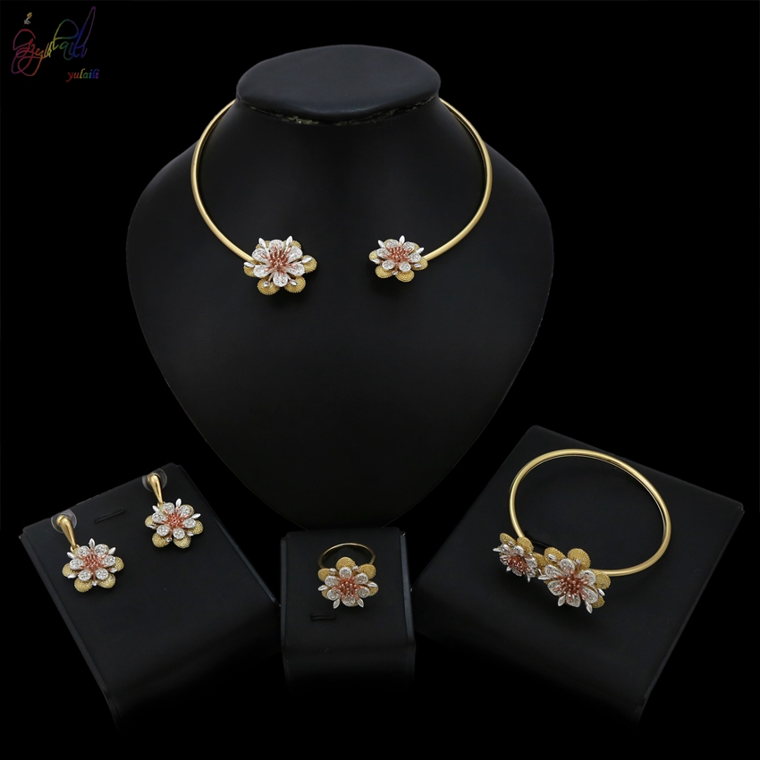 YULAILI Exquisite Jewelry Set Pure Gold Color Flower Choker Necklace Bangle Earrings Ring Set for Women Gift punk style pure color hollow out ring for women