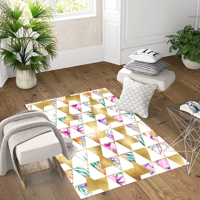 Else Pink Green Watercolor Gold Yellow Triangle 3d Print Non Slip Microfiber Living Room Decorative Modern Washable Area Rug Mat