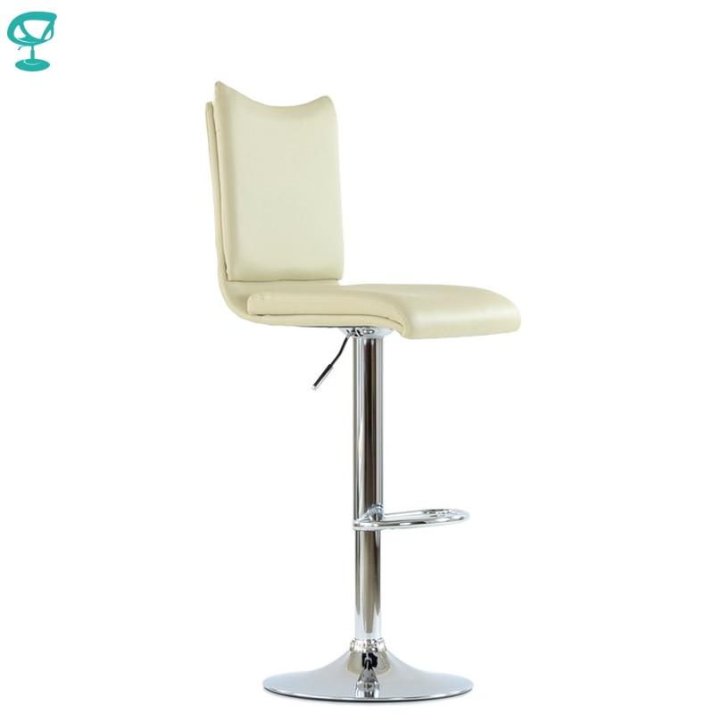 N99CrPuBeige Barneo N-99 Eco-Leather Kitchen Breakfast Bar Stool Swivel Bar Chair Beige Color Chrome Leg Free Shipping In Russia