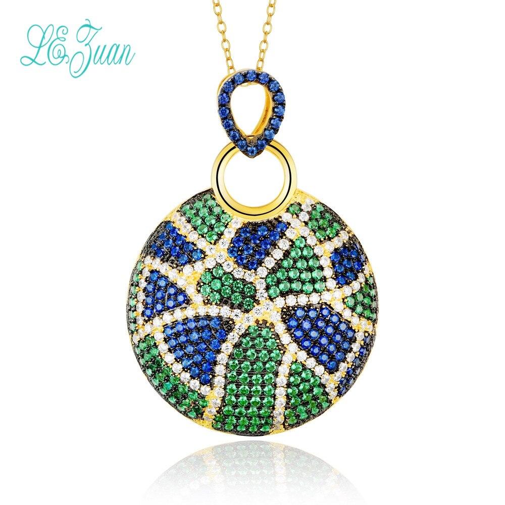 l&zuan S925 Fashion Sterling Silver Jewelry Round Multicolor Zircon Pendant Necklace For Women Christmas Gifts fashion viscose vest style dress for women black multicolor size l
