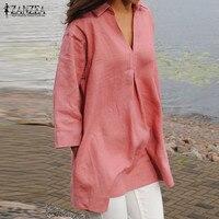 ZANZEA Women Tops 2018 Autumn Solid Shirts Cotton Blouses Casual Loose V Neck Fashion Sexy Blusas