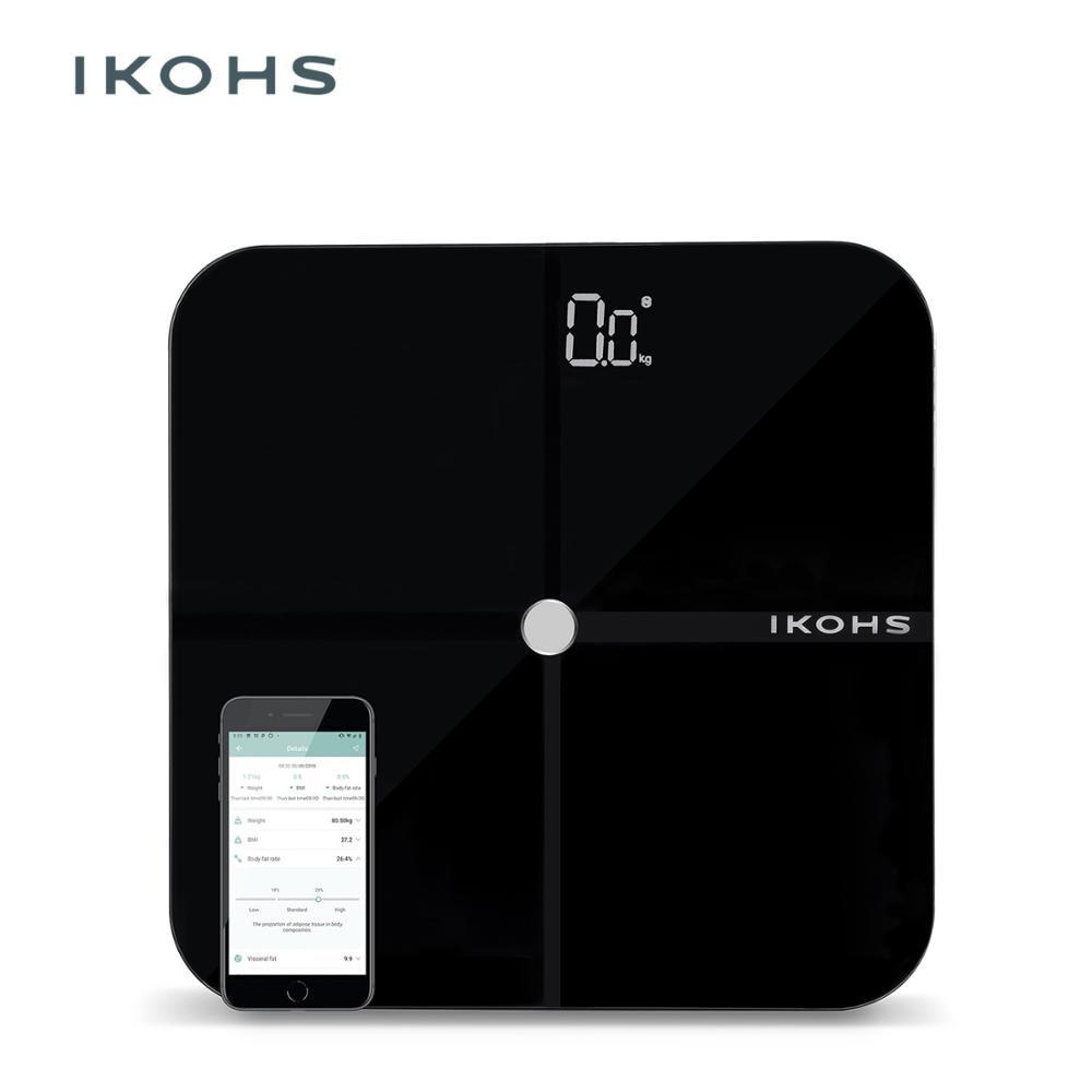 IKOHS SMART WELLNESS ванная комната весы светодиодный дисплей Bluetooth приложение подключение Совместимо с Android и IOS легкий дизайн