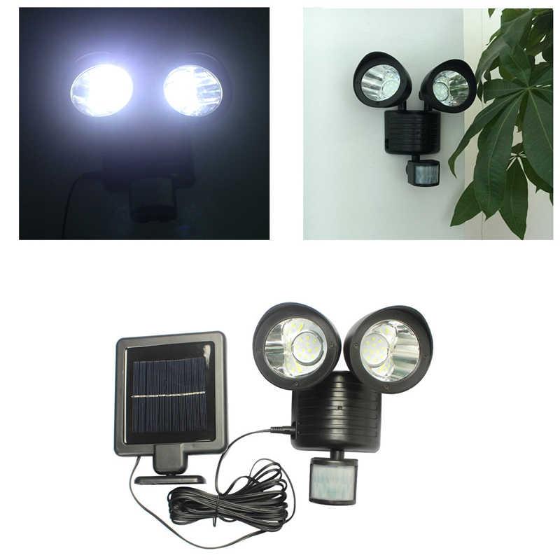 22 светодиодный солнечный Мощность движения PIR сенсор настенный светильник Dual Head открытый сад лампа