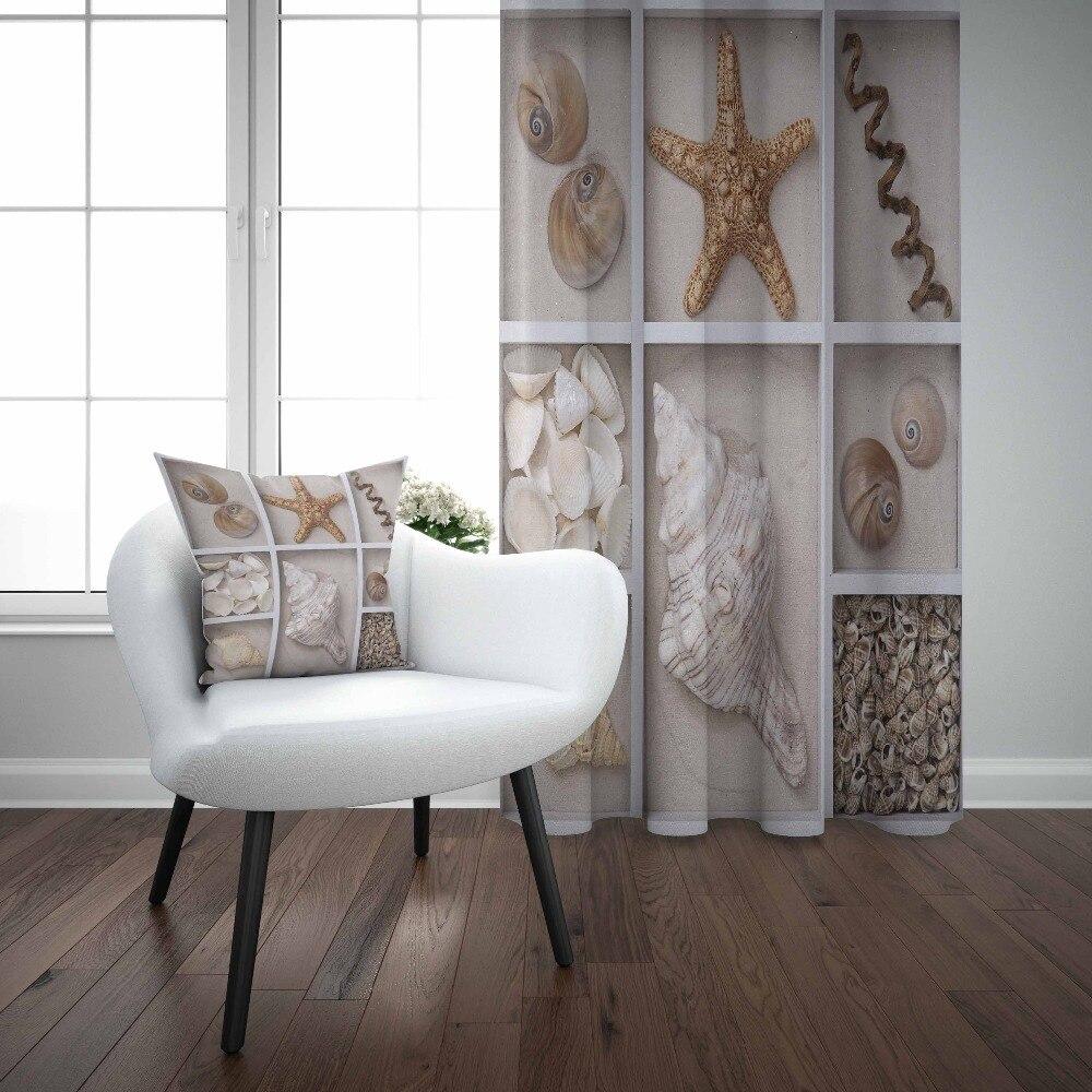 Autre blanc gris armoire étagères mer étoiles coquilles 3D imprimer salon chambre fenêtre panneau rideau combiner cadeau taie d'oreiller