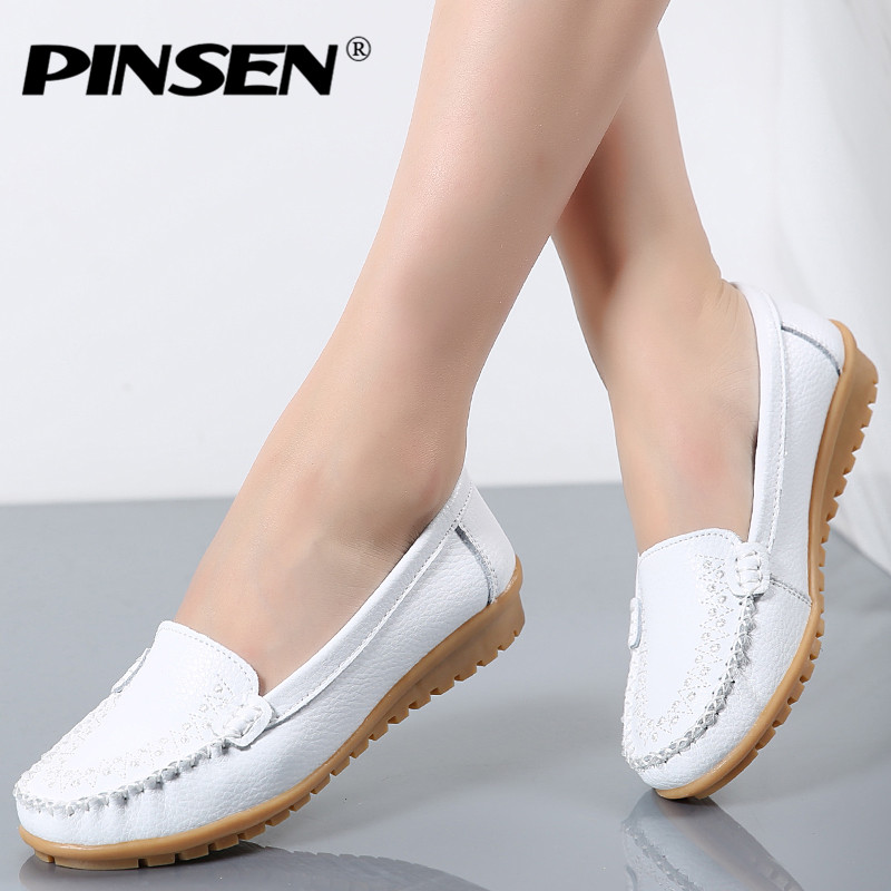PINSEN Autumn Flats Shoes Woman 2017 Genuine Leather Women Shoes Flats 4 Colors Loafers Slip On Women's Flat Shoes Moccasins 2018 autumn new vintage casual handmade shoes woman flats genuine leather fashion women shoes slip on women s loafers moccasins