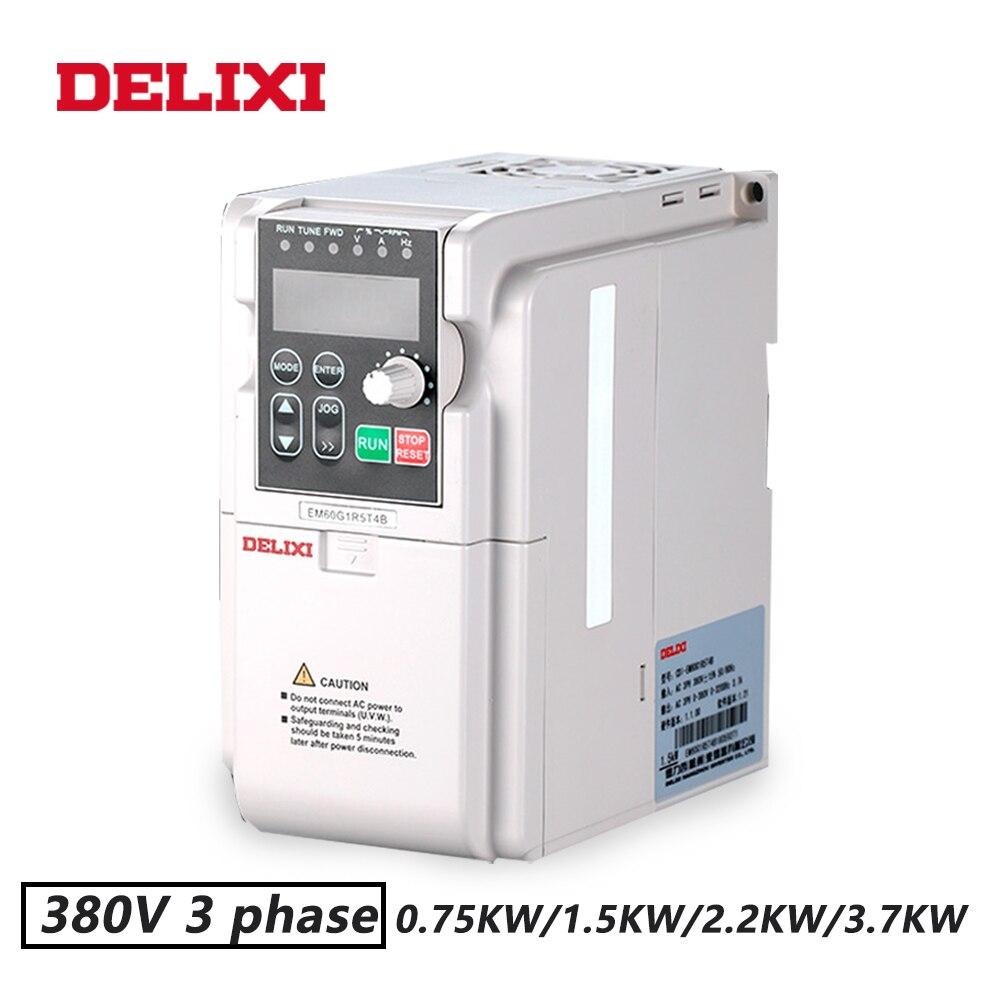 DELIXI 380 v 0.75KW/1.5KW/2.2KW/3.7KW 3 phase VFD variateurs pour Contrôle la Vitesse du moteur 50 hz 60 hz DC AC convertisseur de fréquence