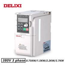 Unidades do inversor da entrada de 3 fases de delixi 380v 0. 75kw/1. 5kw/2. 2kw/3.7kw para o controle de velocidade do motor 50hz 60hz dc conversor de frequência vfd