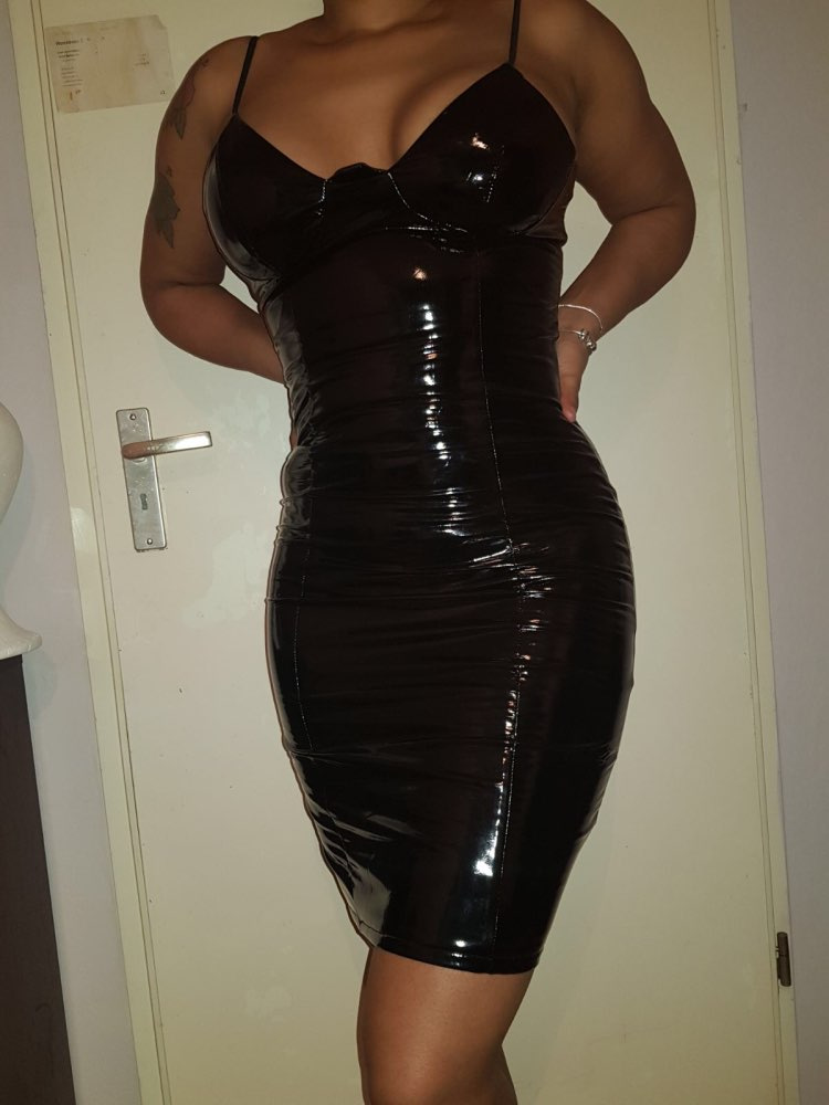 'Time For More Drinks' Black PU Latex Mini Dress photo review