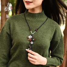 Vintage Wood Necklaces Woman Shell Flower long Necklace Pendant Rope Chain Ethnic Stone Necklace Fashion Jewelry 2018 new Gift