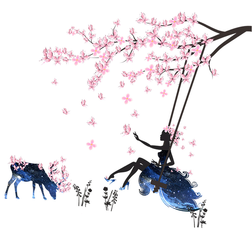 compare prices on girls rooms furniture online shopping buy low new arrival pink plum blossom flowers tree branches wall sticker blue fairy swing deer wall mural
