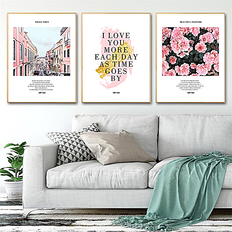 SD LINLEEHON Pink House Nordic Poster Wall Art Canvas Painting Flowers Picture Posters Wall Pictures For Living Room Unframed in Painting Calligraphy from Home Garden